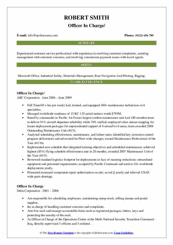 Officer In Charge Resume example