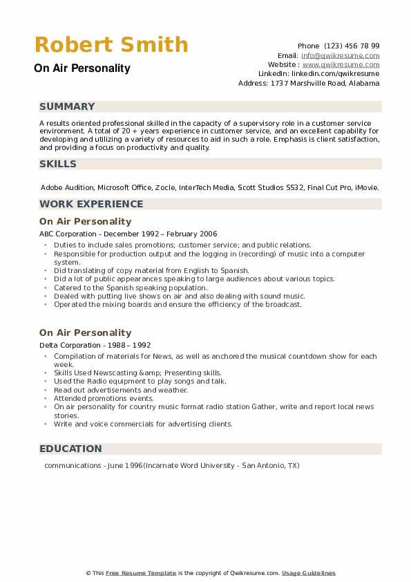 On Air Personality Resume example