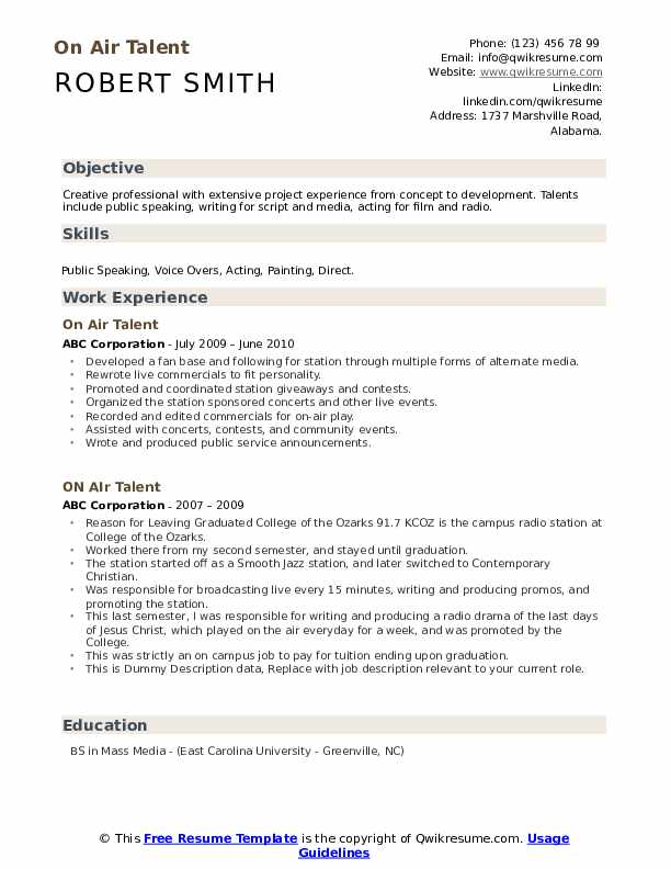 On Air Talent Resume example