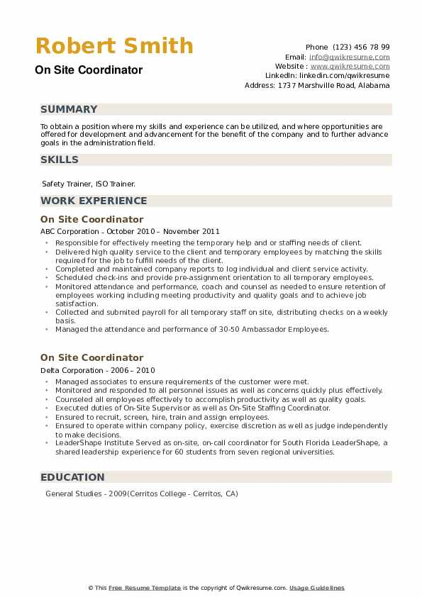 On Site Coordinator Resume example