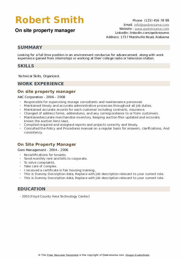 On Site Property Manager Resume example