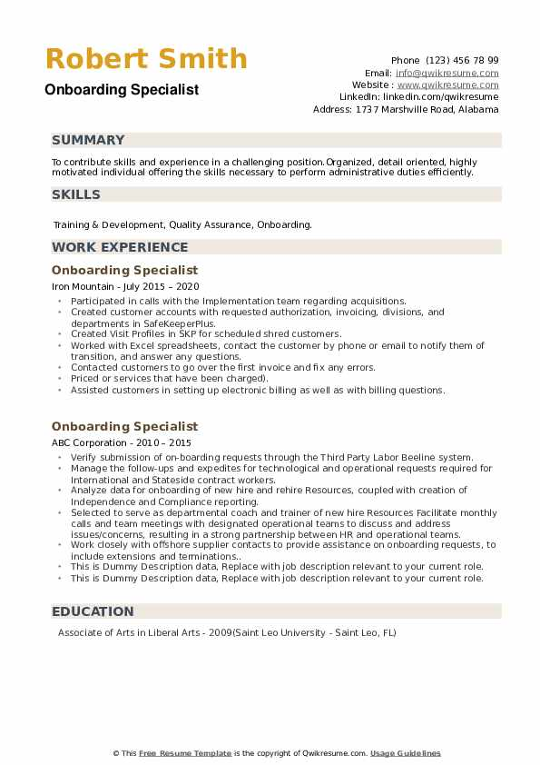 Onboarding Specialist Resume example