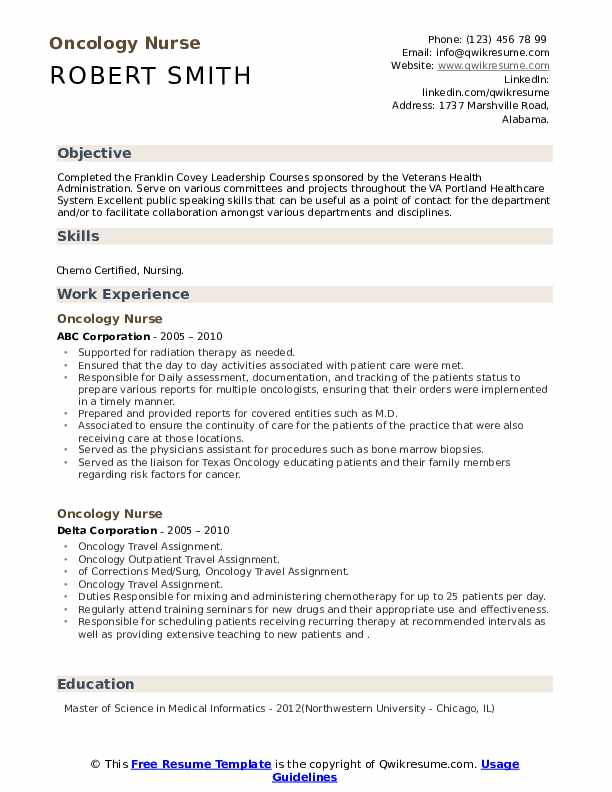 Oncology Nurse Resume Samples Qwikresume