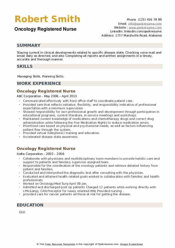 Oncology Registered Nurse Resume example