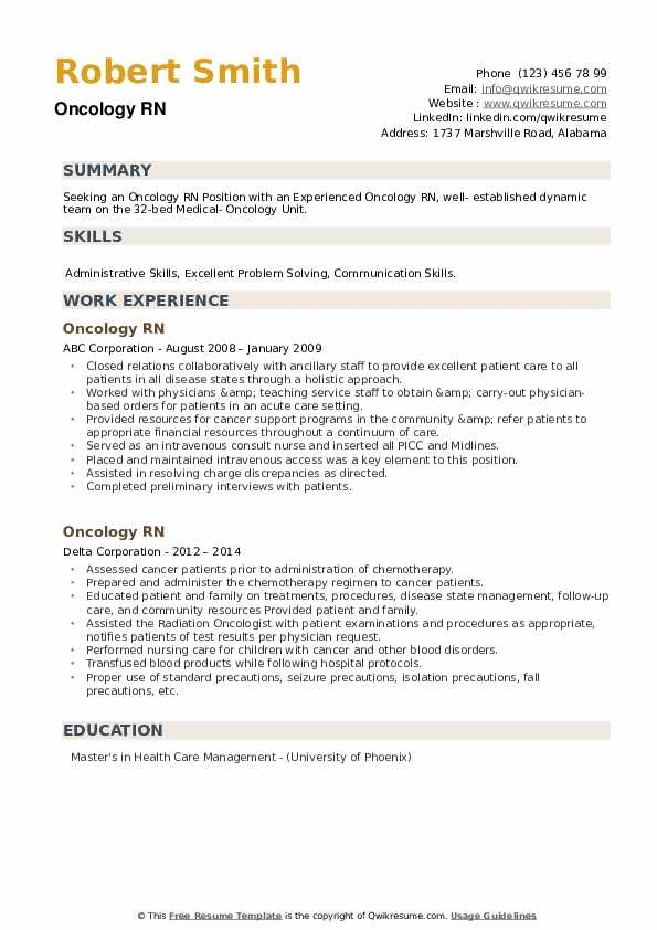Oncology RN Resume example
