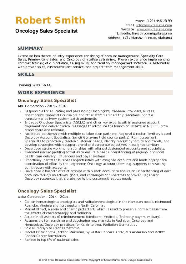 Oncology Sales Specialist Resume example