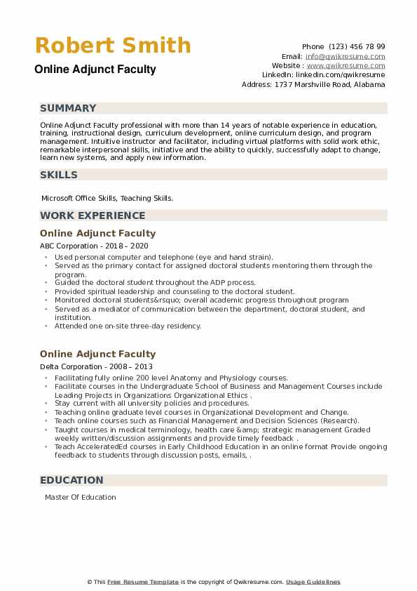 Online Adjunct Faculty Resume example