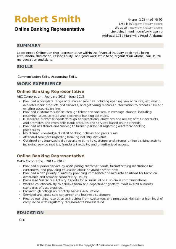 Online Banking Representative Resume example