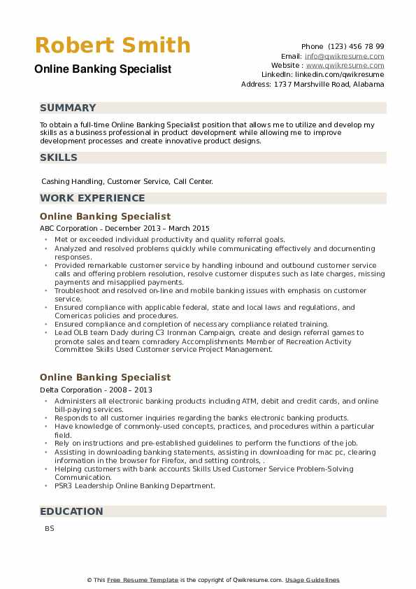 Online Banking Specialist Resume example