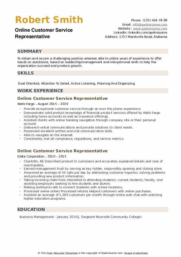 Online Customer Service Representative Resume example