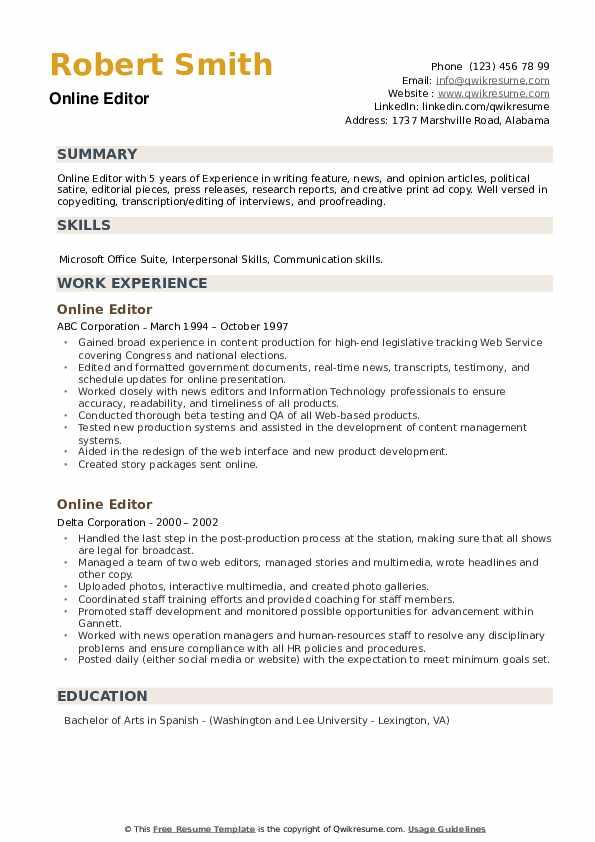 online editor resume samples  qwikresume