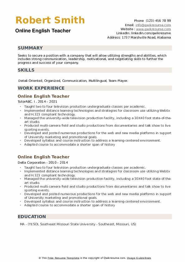 Online English Teacher Resume example
