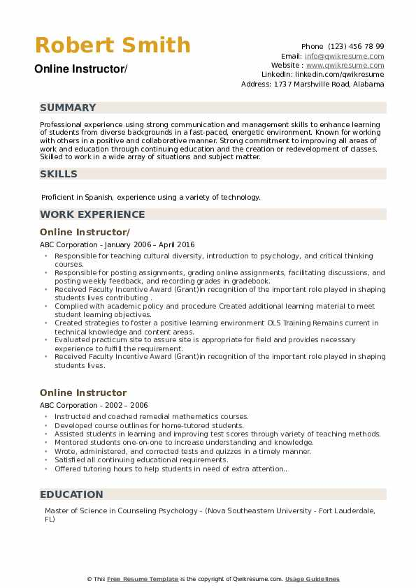 Online Instructor Resume example
