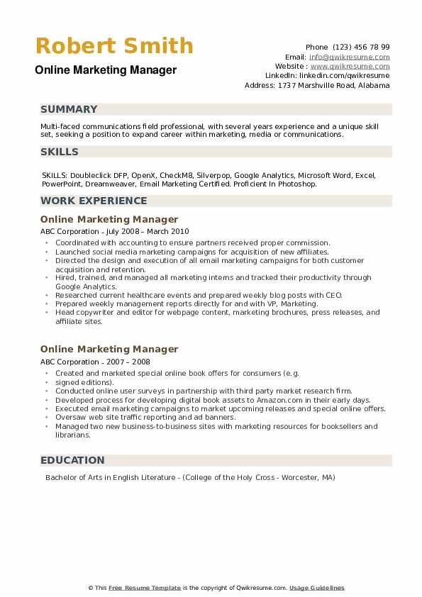 Online Marketing Manager Resume example