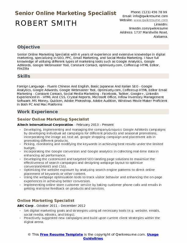 Senior Online Marketing Specialist Resume Template