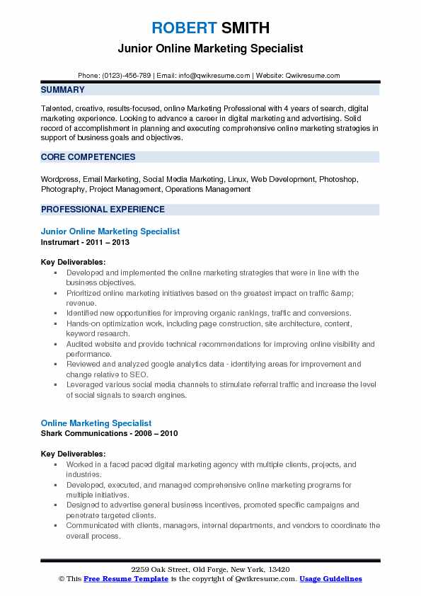 Junior Online Marketing Specialist Resume Sample