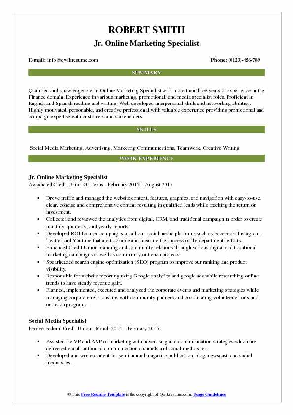 Jr. Online Marketing Specialist Resume Format