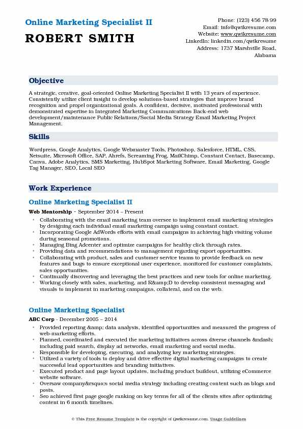 Online Marketing Specialist II Resume Template