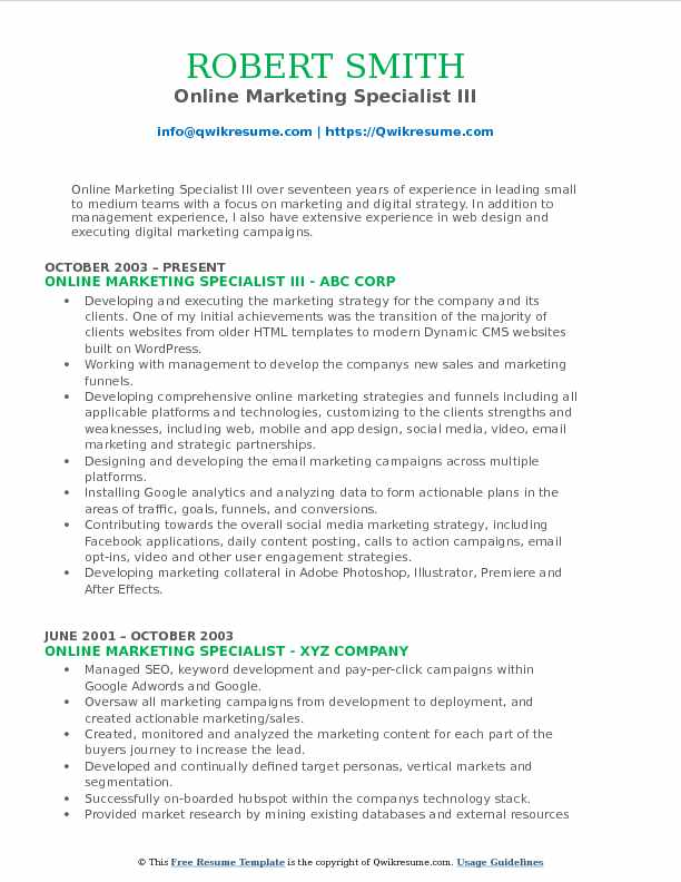 Online Marketing Specialist III Resume Example