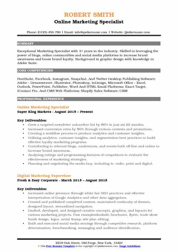 Online Marketing Specialist Resume Example