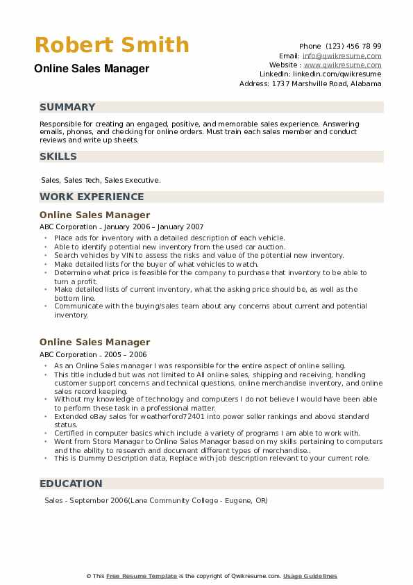 Online Sales Manager Resume example