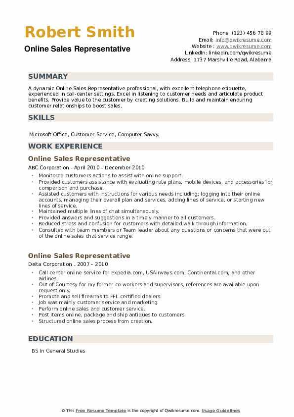 Online Sales Representative Resume example