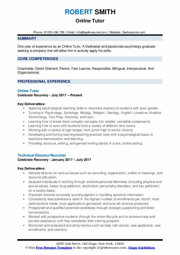 Online Tutor Resume Model