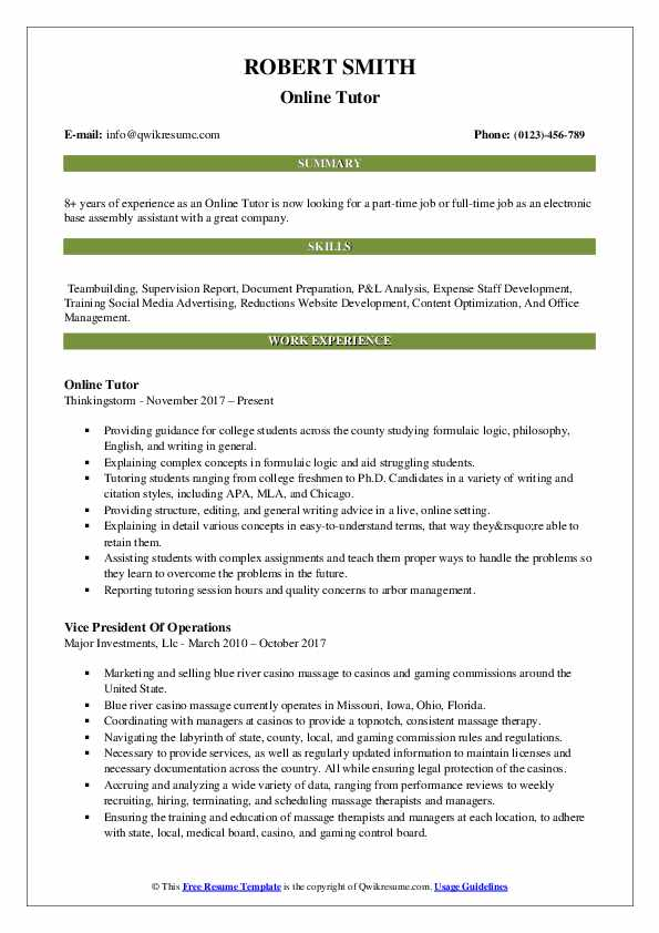 Online Tutor Resume Sample