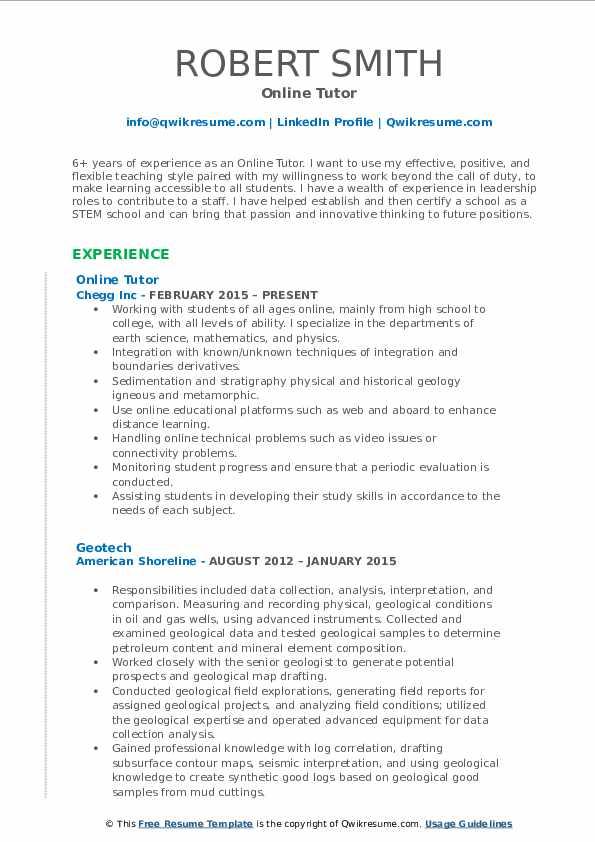 Online Tutor Resume Format