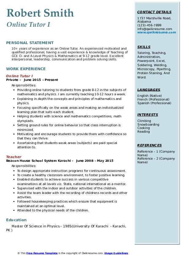 Online Tutor I Resume Format