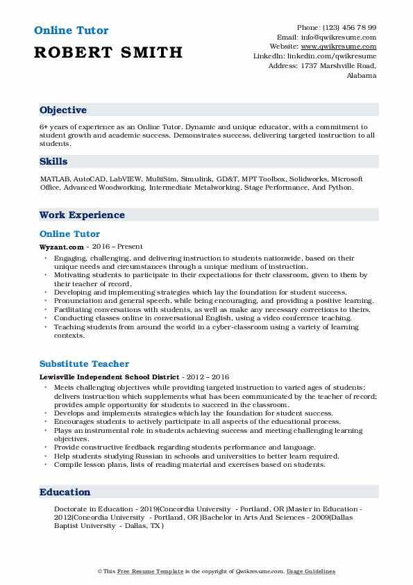 Online Tutor Resume Example