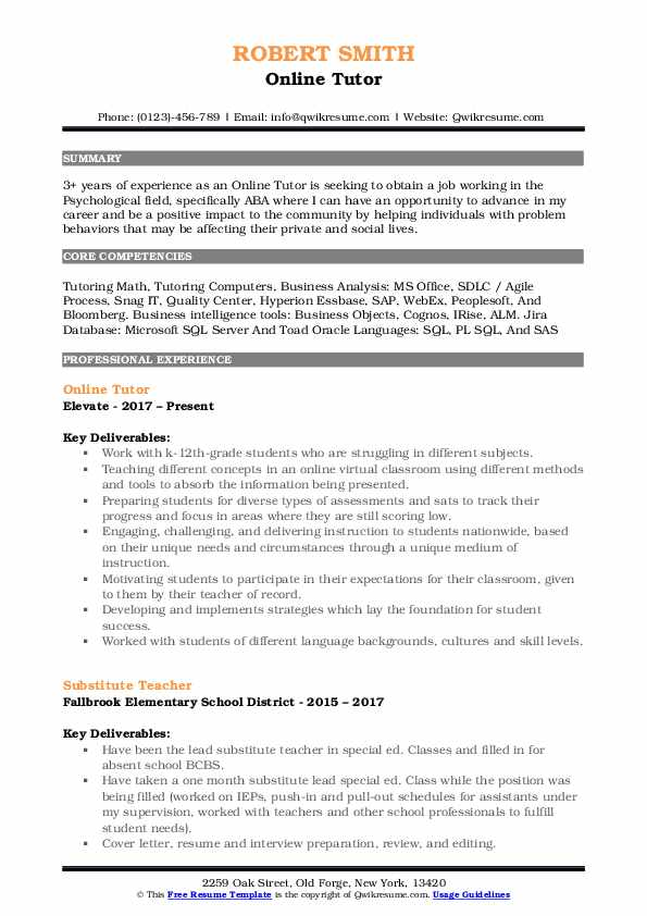 Online Tutor Resume Samples | QwikResume