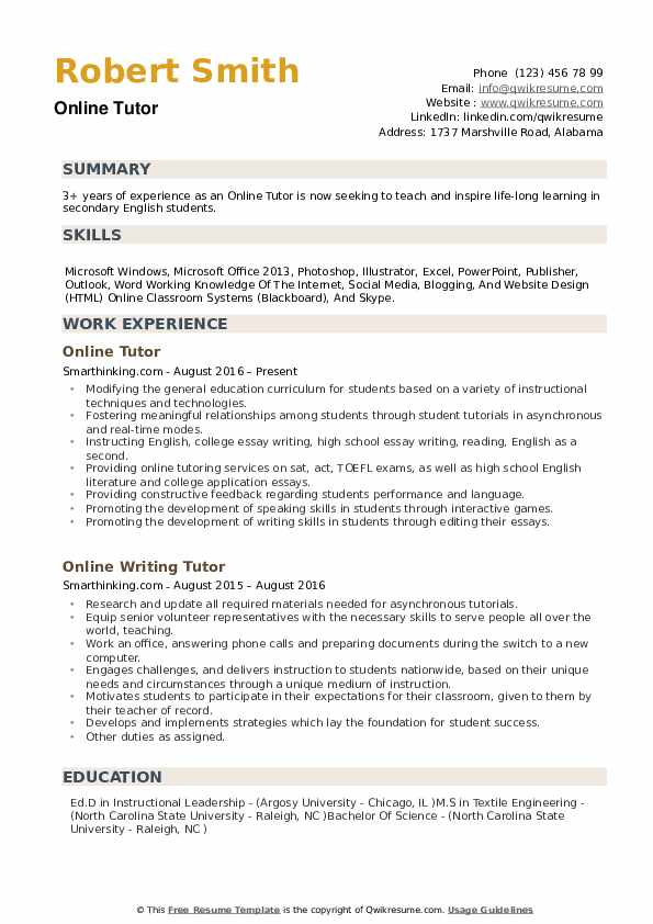 Online Tutor Resume Samples