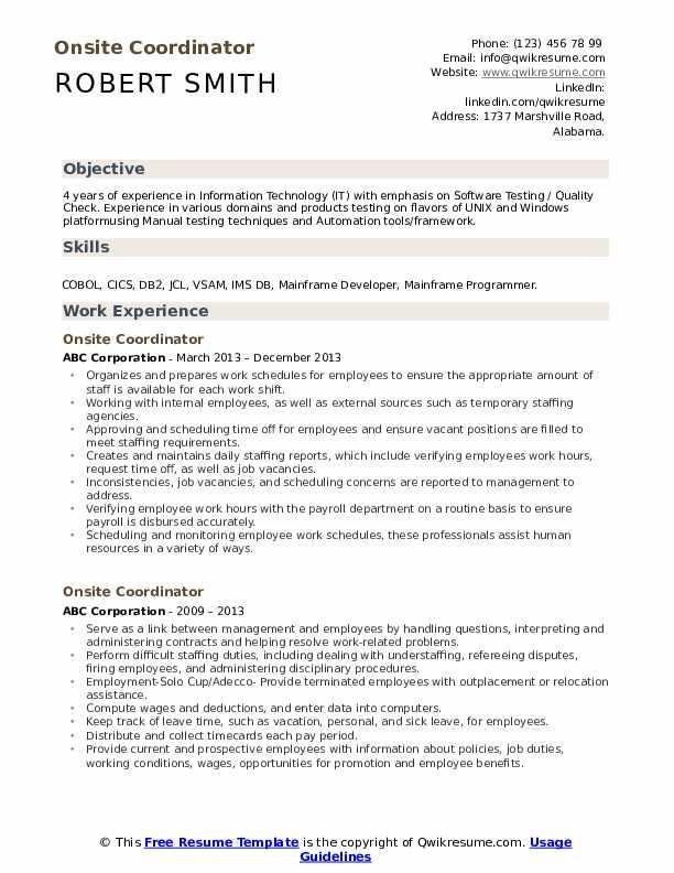 Onsite Coordinator Resume Model