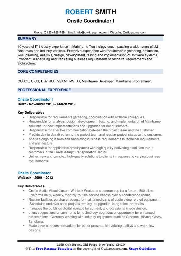 Onsite Coordinator I Resume Example