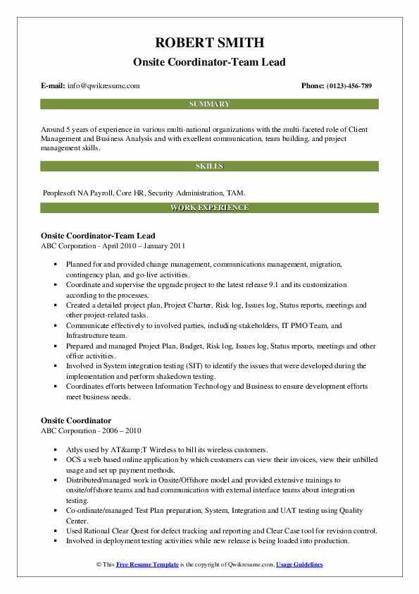 Onsite Coordinator-Team Lead Resume Template