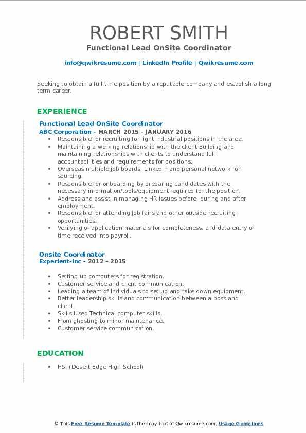 Functional Lead OnSite Coordinator Resume Format