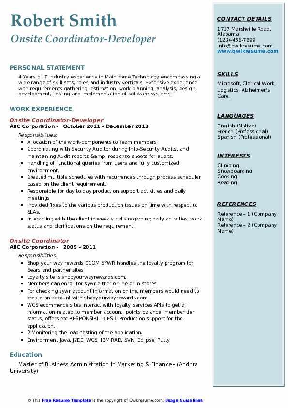 Onsite Coordinator-Developer Resume Template