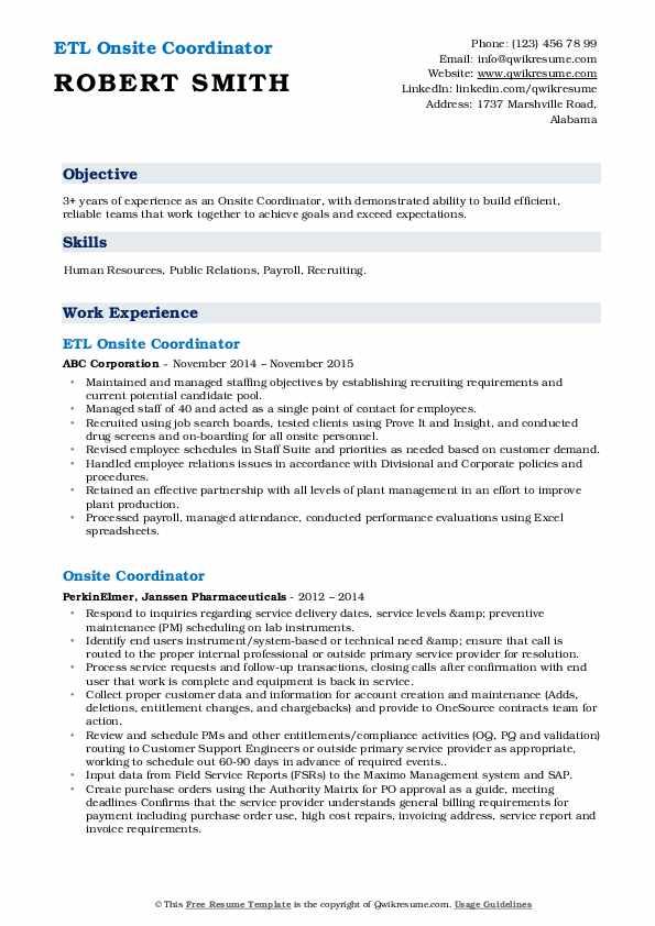 ETL Onsite Coordinator Resume Template