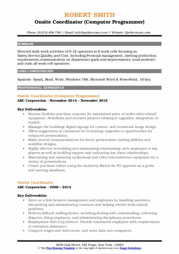 Onsite Coordinator (Computer Programmer) Resume Template
