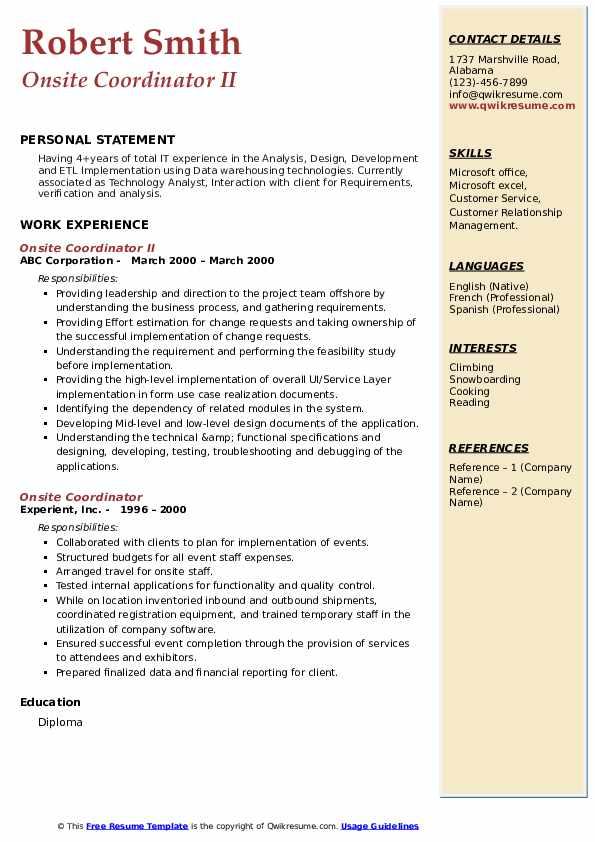 Onsite Coordinator II Resume Sample