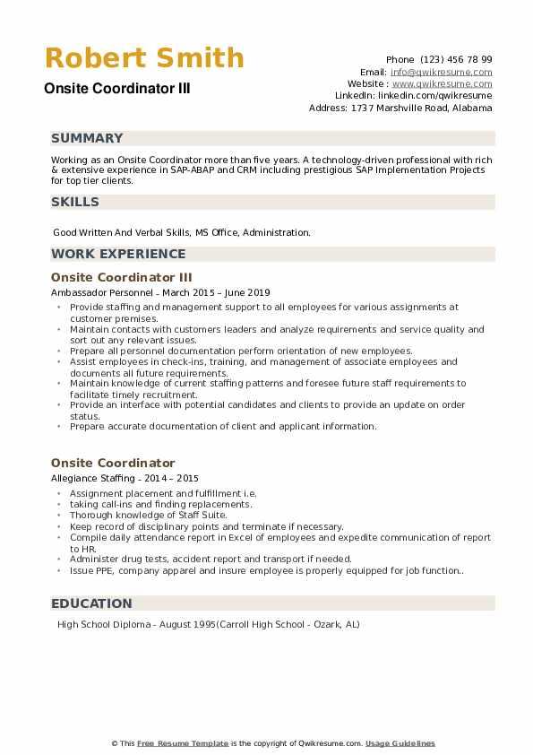 Onsite Coordinator III Resume Template