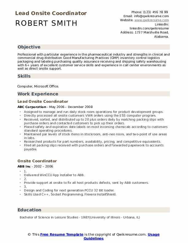 Lead Onsite Coordinator Resume Template