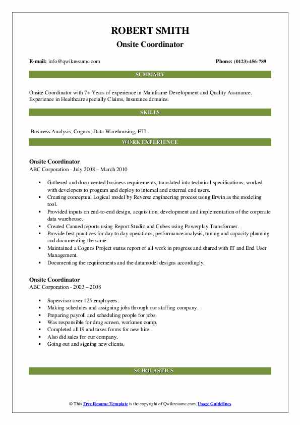 Onsite Coordinator Resume example
