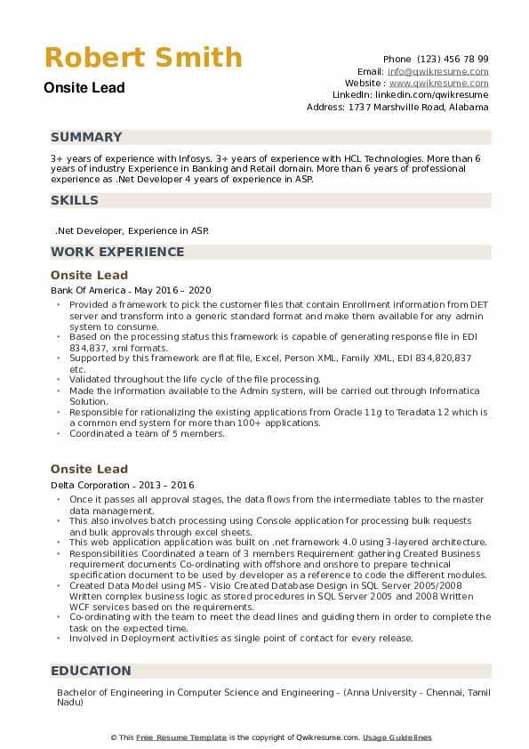 Onsite Lead Resume example