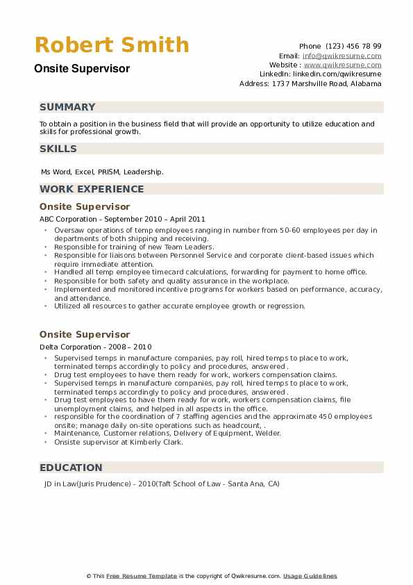 Onsite Supervisor Resume example