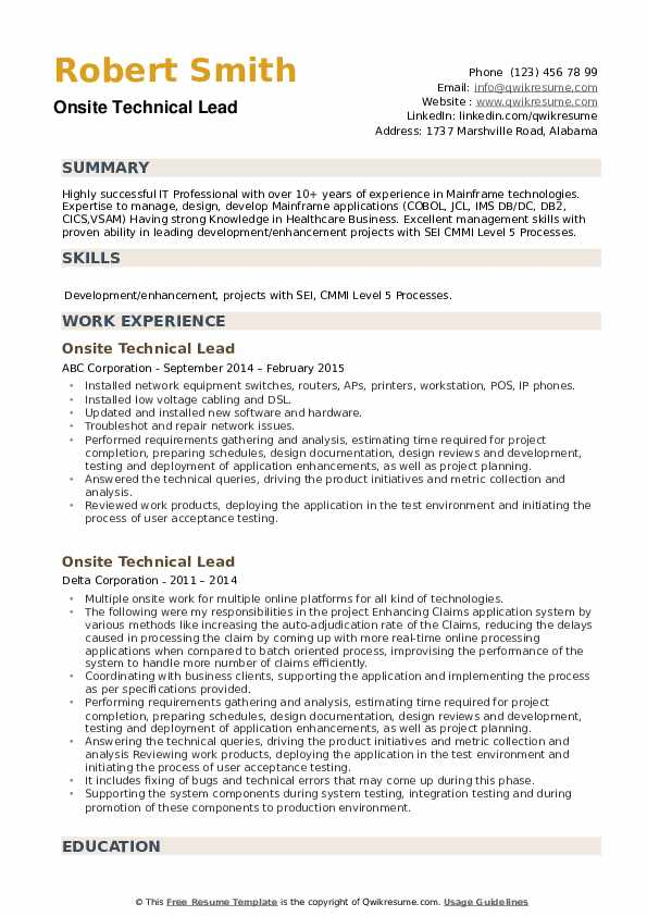 Onsite Technical Lead Resume example