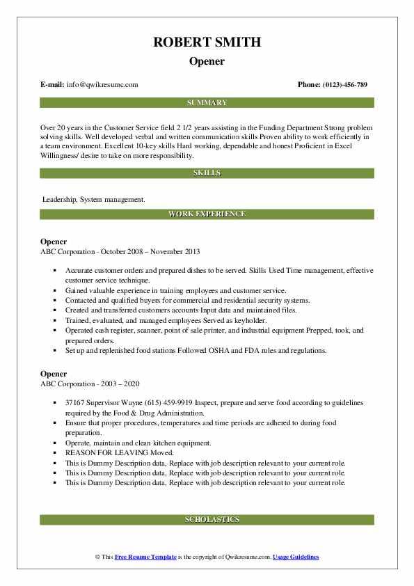 Opener Resume example