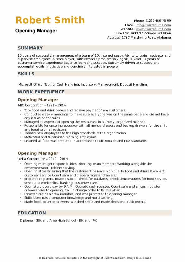 Opening Manager Resume example