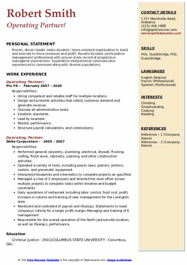 Operating Partner Resume example